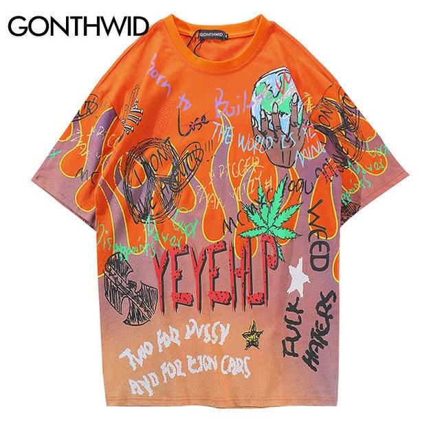 GONTHWID Graffiti Yangın Alev Streetwear T Shirt 2019 Erkekler Hip Hop Rahat Kısa Kollu Gömlek Erkek Tee Harajuku Moda Tişörtleri