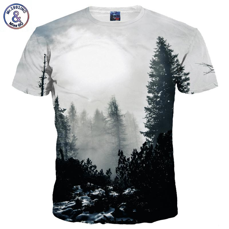 Mr.1991INC New Arrivals Men/Women 3d T-shirt Print Winter Forest Trees Quick Dry Summer Tops Tees Brand Tshirts
