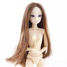 Novo 1/6 bonecas acessórios cabeça 3d olhos cabeça para 30cm boneca peruca longa cabelo feminino nu cabeça sem corpo bonecas brinquedo para meninas