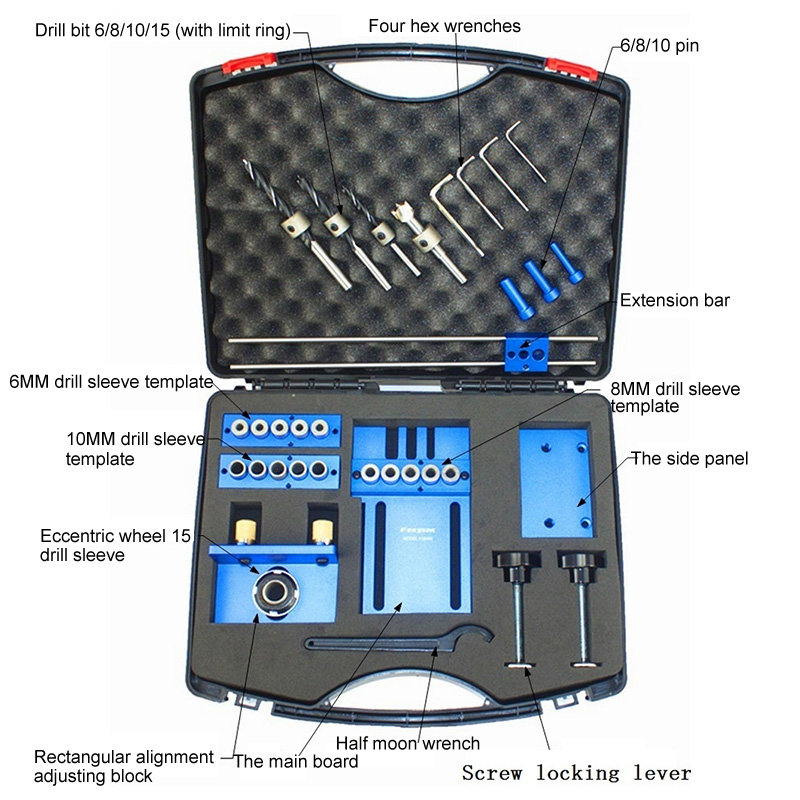 DIY Holzbearbeitung Werkzeuge Set Log Zapfen Loch Punch Combo Triple Punch Locator Holzbearbeitung Loch Kreissäge Loch Opener Tool