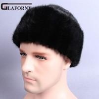 Glaforny Man Snow Caps Genuine Mink Fur Hats Russian Ushanka Hat Solid Skullies Beanies Winter Men Whole Fur Outdoor Headgear