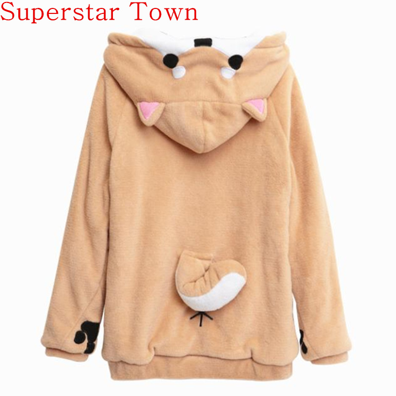 Harajuku Japanese Kawaii Hoodies Wanita kaus kaki dengan Telinga Cute Doge Muco Winter Plush Lovely Muco! Anime Hoodies Hooded