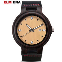ELMERA Man Watch Leather Wood Watch Wooden Leather Strap for Gents Nightmare before Christmas|Quartz Watches|   -