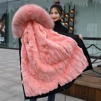 Тренд сеттер 2018 зима натуральный розовый мех парки женский большой енот меховой воротник с капюшоном и кроличьей подкладкой длинное пальто