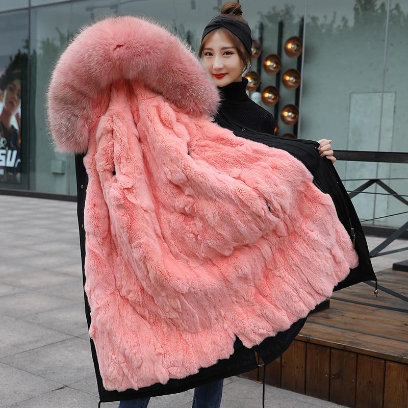 TREND-Setter 2018 Winter Natural Pink Fur   Parkas   Women Big Raccoon Fur Collar Hooded And Rabbit Lining Long Coat