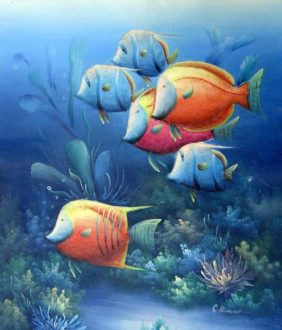 Dibujos animados paisajes marinos peces pintura de aceite - Cuadros con peces ...