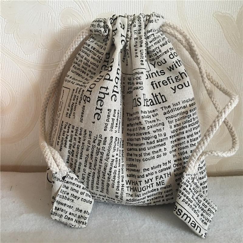 YILE 1pc Handmade Cotton Linen Drawstring Multi-purpose Organizer Bag Cosmetic Phone Bag English Newspaper