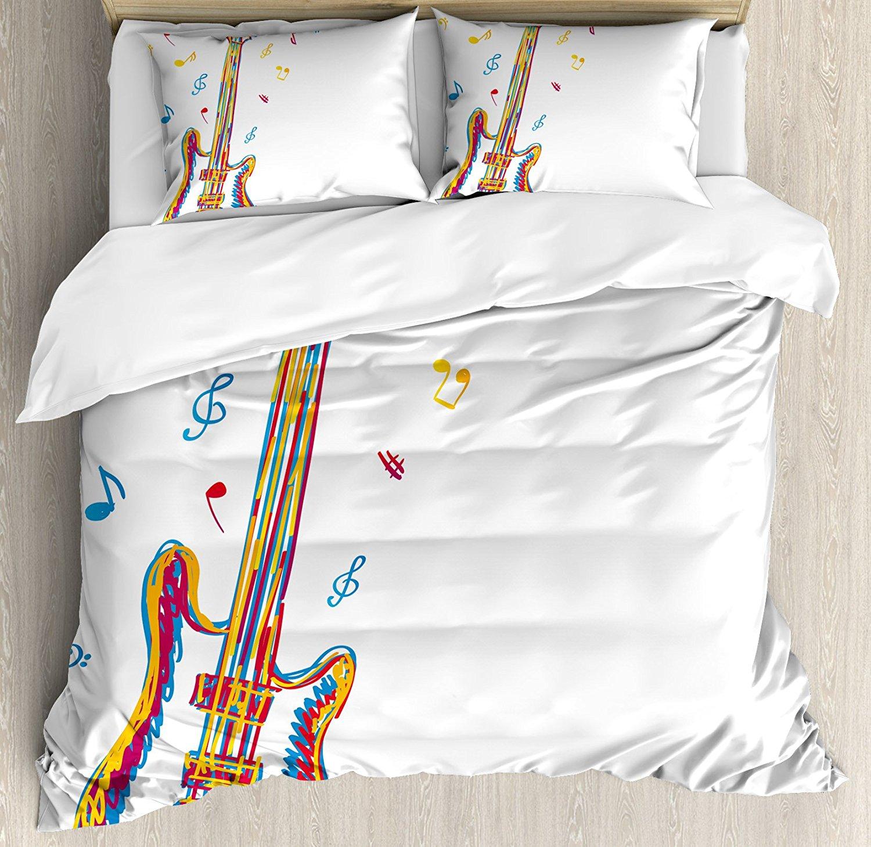 Музыка постельное белье каракули Стиль иллюстрация гитара инструмент с нотами рисованной Книги по искусству, 4 шт. Постельное белье