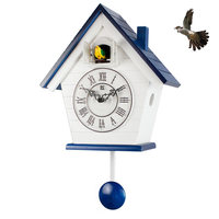 Cuckoo clock European Wood simple Creative Quartz Clock Bedroom Mediterranean Living room Children Wall Clock Cuckoo clock