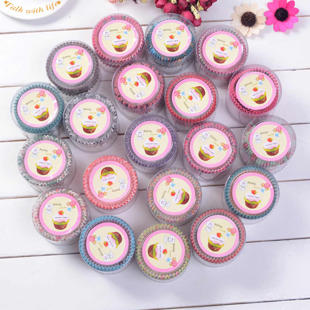 100Pcs Party Tablett Kuchen Form Dekorieren Werkzeuge Cupcake papier Bunte Papier Kuchen Cupcake Liner Backen Muffin Box Tasse Fall