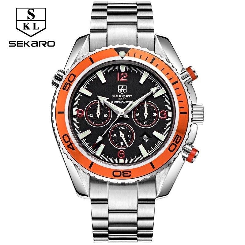 Sekaro multifunzionale orologio uomo luxury brand meccanico automatico impermeabile master sport grande quadrante arancione in acciaio inox