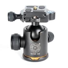QZSD-02 Q-02 Q02 Aluminum Tripod Ball Head Ballhead Quick Release Plate Pro Camera Tripod Max load to 15kg