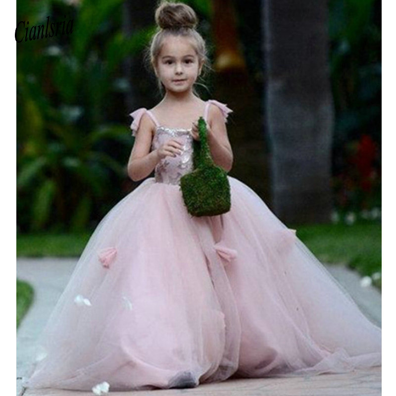Blush Pink Flower Girls Dresses Appliques Straps Gown Ruffles Tulle Pageant Dresses For Girls Long Girl Dresses