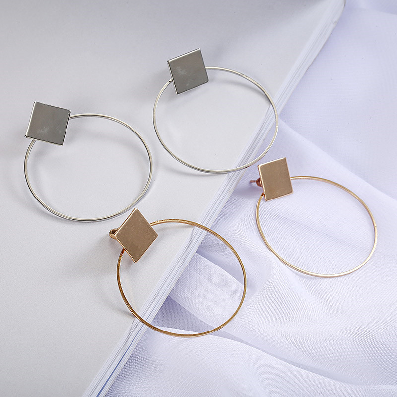 Simple Style Fashion Silver Gold Color Earrings for Women Square Round Geometric Hanging Earrings 18 Female Pendientes Jewelry 14