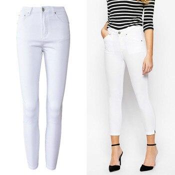 Bureau Dame Taille Haute Blanc Jeans Femmes Top Qualité Coton Slim  élasticité Skinny Denim Loisirs Simple Push Up Pantalon Femme