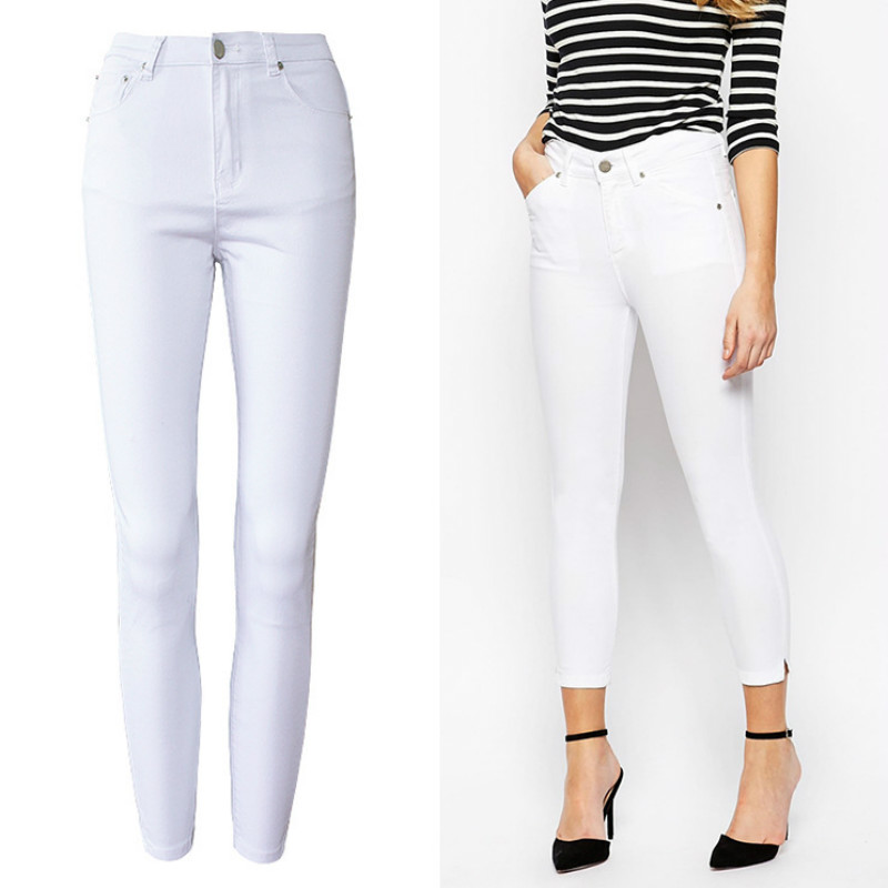 Office Lady High Waist White Jeans Women Top Quality Cotton Slim Elasticity Skinny Denim Leisure Simple Push Up Pantalon Femme