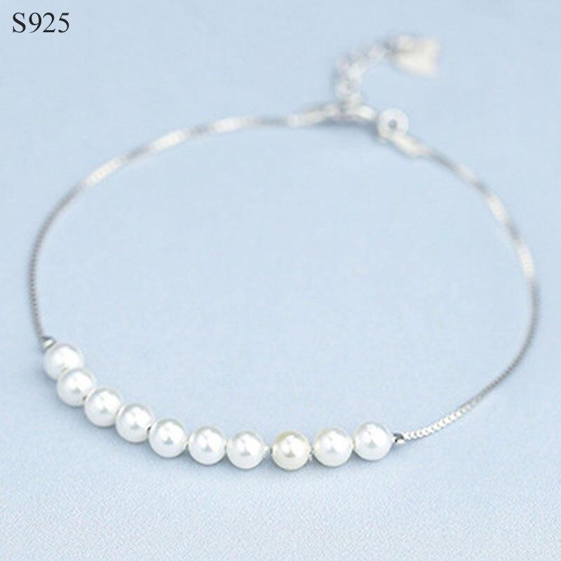 58ca997c62d3 Shell perla cuenta Real puro sólido 925 plata esterlina pulseras brazaletes  para mujeres joyería ...