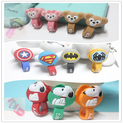 500pcs/lot Cable Winder Superman, Spiderman Headphone Earphone Silicone Cable Wire Cord Organizer Holder For iphone samsung MP3