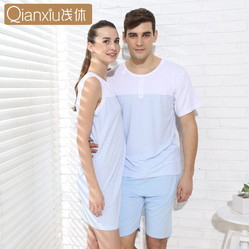 Qianxiu Pajamas For Men Summer Stripes Cotton Women&Men Pajama set Short sleeve shorts L ...