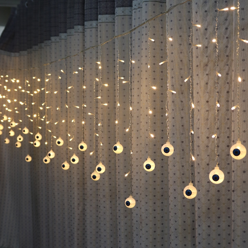 <font><b>5M</b></font> <font><b>216</b></font> <font><b>LED</b></font> Halloween Curtain Light Strings Eyeball Style Holiday Lighting Bedroom Living Room Halloween Atmosphere Decoration image