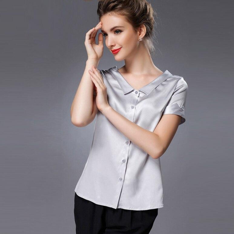 Compra Satén de la blusa de manga corta online al por