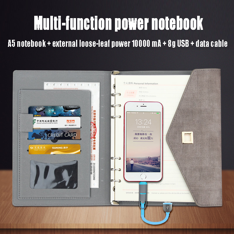 9aa16b00cd New Creative Notebook Paper A5 A6 Multifunction chargeable Power Bank Faux  Leather Notebook Bag Agenda Journal Planner Chancery