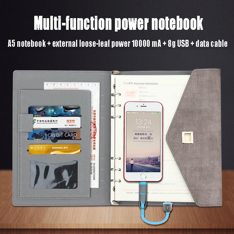 Nouveau papier portable créatif A5 A6 multifonction rechargeable batterie externe Faux cuir sac pour ordinateur portable Agenda Journal planificateur chancellerie