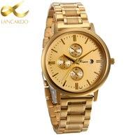 Lancardo Men Watches Top Brand Luxury Famous Gold Wristwatch Male Clock Quartz Wrist Watch With Calendar