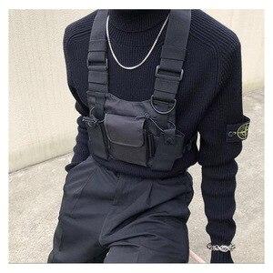 Image 2 - מתכוונן שחור אפוד היפ הופ Streetwear תפקודי טקטי לרתום חזה Rig Kanye West חבילת מותניים חזה תיק אופנה ניילון c5