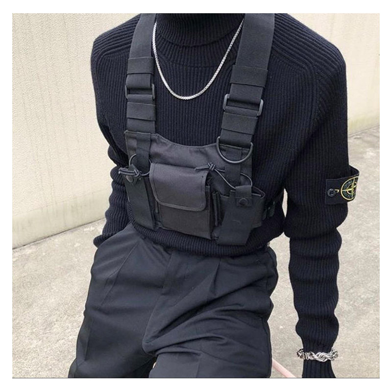 Image 2 - adjustable Black Vest Hip Hop Streetwear Functional Tactical Harness Chest Rig Kanye West Waist Pack Chest Bag Fashion Nylon c5-in Waist Packs from Luggage & Bags