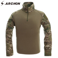 S ARCHON Camouflage Combat Tactical T Shirts Breathable Multicam Long Sleeve Military Shirts Men US Army