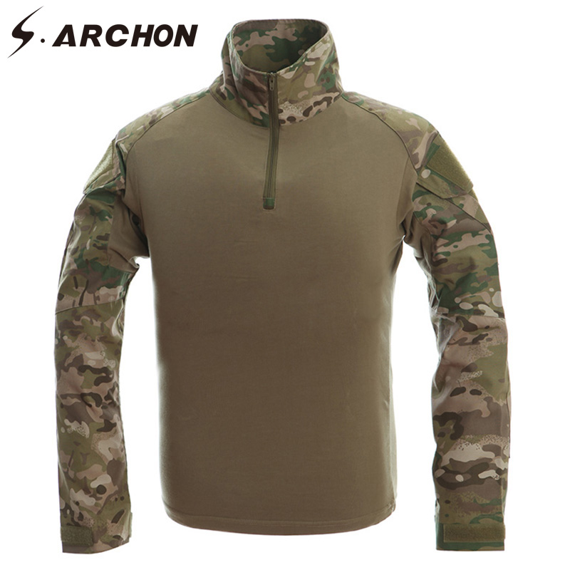 S ARCHON Military Camouflage Combat Shirt Men Long Sleeve Paintball Clothing Tactical Shirts Multicam Uniform Frog