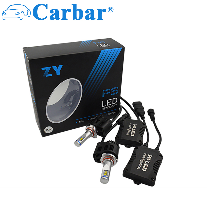 Carbar# P6 2Pcs 9005 LED Headlight Bulbs Conversion Kit HB3/H10 Car Headlamp 5200LM 55W 6K 5K 4K  Fog Light Plug And Play