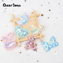 10pcs/bag Candy Bear Star Appliques Sequin Patches for Hairpin Making Materials DIY Scrapbooking Boutique Accessories