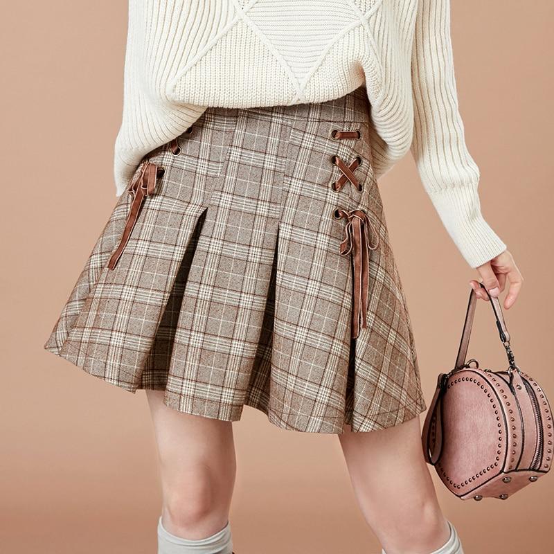 ARTKA 2018 New Preppy Style Autumn Skirts Women s Fashion Plaid Skirt Female Drawstring A line