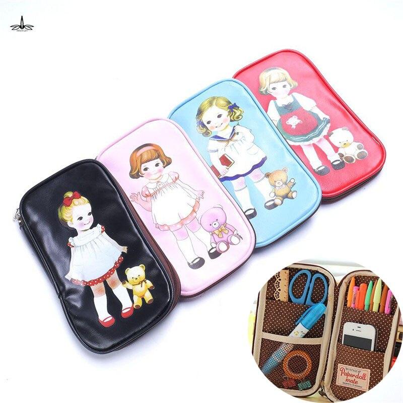 Multi Function Portable Stationery Girl Cute Zipper Pencil Case Cartoon Doll Makeup Pen Bag Cosmetic Bag drop shipping
