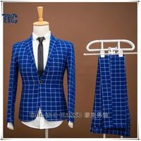Высокое качество Для мужчин Костюмы синий плед Стиль Мода 2017 г. пиджак Slim Fit Для мужчин S жениха Свадебные Бизнес Пром мужской смокинг