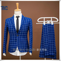 High Quality Men Suits Blue Plaid Style 2017 Fashion Blazer Slim Fit Mens Groom Wedding Business Prom Male Tuxedo