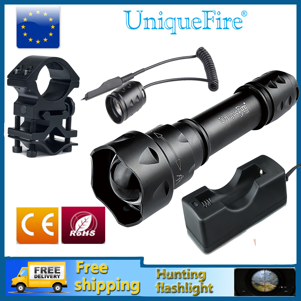 UniqueFire T20-4715S 850nm IR LED Flashlight Infrared Radiation Night Vision Light For Hunting+Rat Tail+Charger+Scope Mount uniquefire flashlight uf 1405 ir 850nm 67mm lens infrared light night vision torche rat tail perfect for hunting