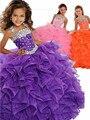 Púrpura Vestido de Las Muchachas 2017 de La Venta Caliente Encantadora Florwer de Bola de Las Muchachas Vestidos Del Desfile Piso-Longitud Con Cuentas de Cristal Vestido de Las Muchachas 6131420