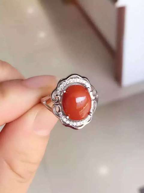 Природный южная красный агат Кольцо Природных драгоценных камней Кольцо S925 стерлингового серебра модные Элегантный Полые круглые женщин подарка партии Ювелирных Изделий