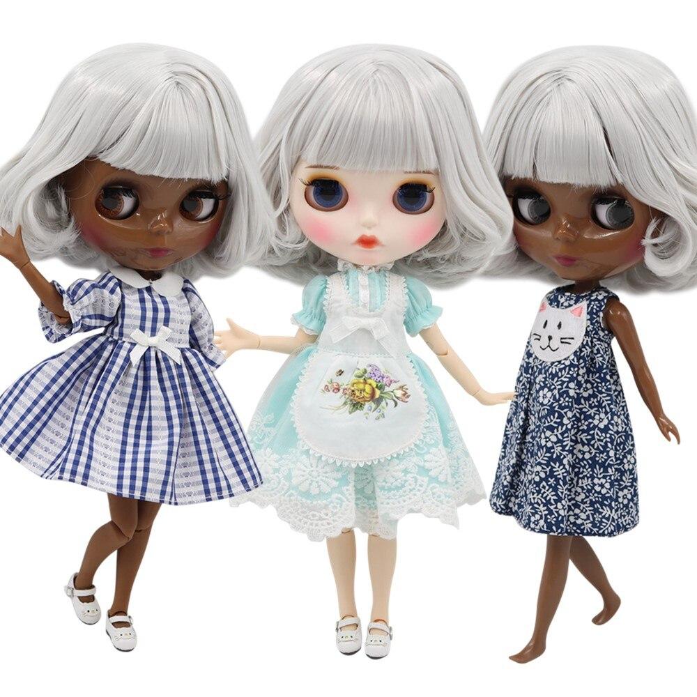 Oyuncaklar ve Hobi Ürünleri'ten Bebekler'de BUZLU fabrika blyth doll No. BL1003 30 cm özelleştirilmiş çıplak için ortak/normal vücut beyaz saç 1/6 BJD bebek kız hediye'da  Grup 1