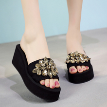 6CM/3CM Heel Height Luxury Rhinestone Wedges Slippers Fashion Summer Comfortable Non-slip Women Slides