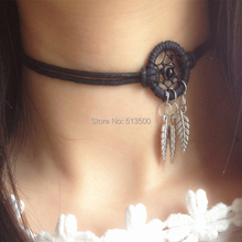 1pc Free Shipping New Arrival Vintage Black Necklace Dream Catcher Necklaces Chocker Necklace