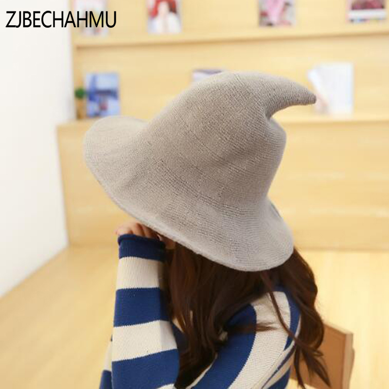 ZJBECHAHMU Spring Fashion New Solid Vintage Elegant Wool Warm Skullies Beanies Hats For Women Girl Winter Cotton 2019