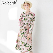 Delocah Women Spring Autumn Midi Dress Runway Fashion A-Line Long Floral Printed Elegant Casual High Waist Shirt Drsses