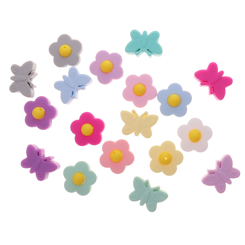 10pc Flower Silicone Teether Beads BPA Free Butterfly Baby Pacifier Chain Holder Accessories DIY Infant Biting Necklace Threaded