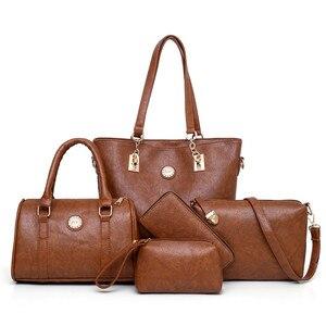 Image 1 - 여성 어머니 가방 5 조각 세트 럭셔리 핸드백 여성 가방 디자이너 가죽 어깨 가방 지갑과 핸드백 기울어 진 가방