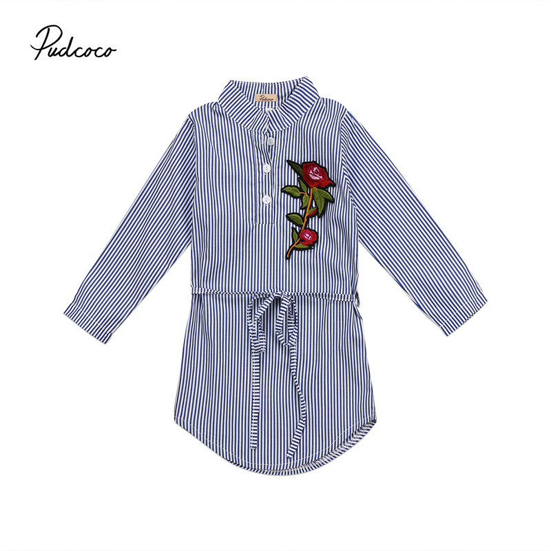 Pudcoco Brand New Embroidery Rose Flower Children Girls Long Sleeve Shirt Dress Fashion Toddler Kid Striped Mini Dresses Clothes symmetric flower embroidery t shirt