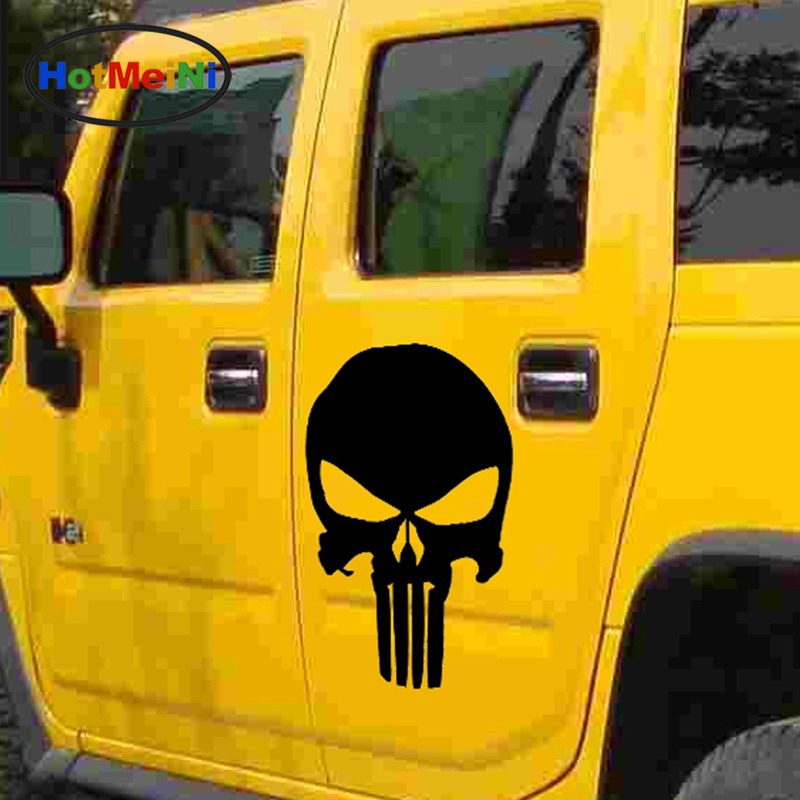 HotMeiNi 44cmx30cm Classic terror Punisher Skull Car Sticker For Cars Side Truck Window auto Door Vinyl Decal Halloween Easter high quality alaskan malamute retriever vinyl window dog decal sticker for car suv body